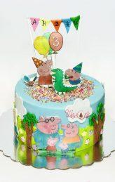 Peppa pig cake, торта Пепа пиг от Шамони.Торти със захарна декорация за рожден ден shamoni.net